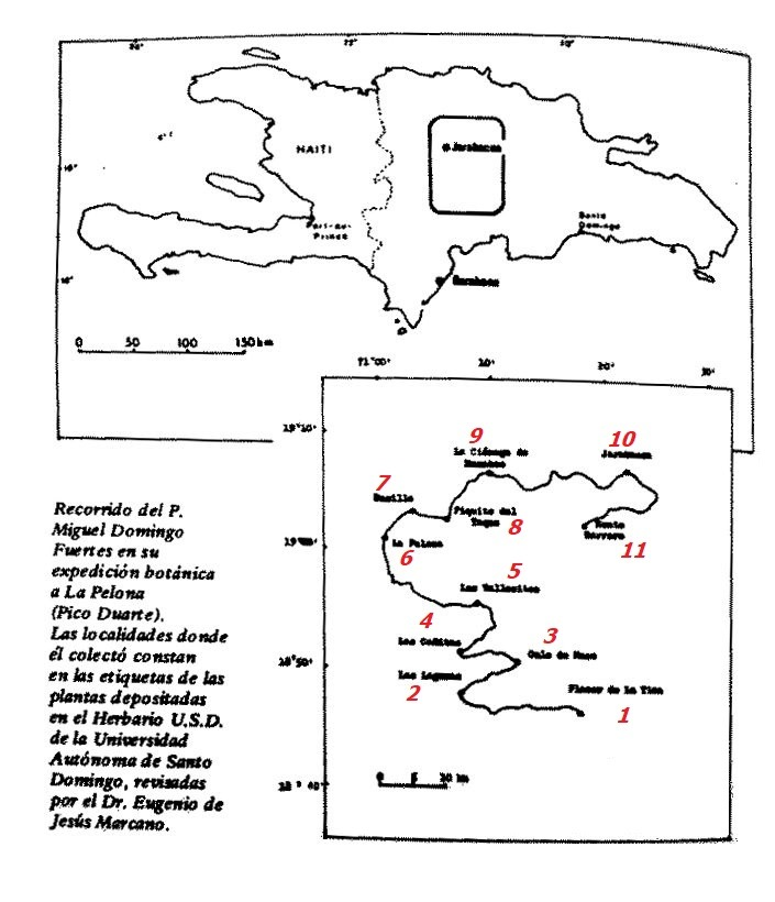 Mapa del viaje de P. Fuertes de 1912.